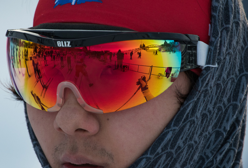 UAF skier Seiji Takagi at the start line of the Men's 30K Classic during the 2018 U.S. National Cross Country Ski Championships at Kincaid Park in Anchorage.