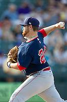 Oklahoma City RedHawks starting pitcher Jake Buchanan (29) delivers a pitch to the plate against the Round Rock Express during the Pacific Coast League baseball game on August 25, 2013 at the Dell Diamond in Round Rock, Texas. Round Rock defeated Oklahoma City 9-2. (Andrew Woolley/Four Seam Images)