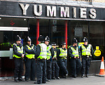 © Joel Goodman - 07973 332324 - all rights reserved . 29/05/2010 . Newcastle , UK . Police outside Yummies restaurant . The English Defence League hold and march and rally in Newcastle City Centre . Photo credit : Joel Goodman