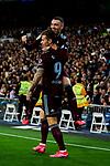 Iago Aspas (R) and Fedor Smolov (L) of RC Celta de Vigo celebrate goal during La Liga match between Real Madrid and RC Celta de Vigo at Santiago Bernabeu Stadium in Madrid, Spain. February 16, 2020. (ALTERPHOTOS/A. Perez Meca)