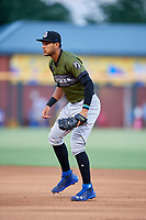 Biloxi Shuckers first baseman Jake Gatewood (3) during a game against the Jacksonville Jumbo Shrimp on June 8, 2018 at Baseball Grounds of Jacksonville in Jacksonville, Florida.  Biloxi defeated Jacksonville 5-3.  (Mike Janes/Four Seam Images)