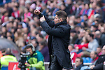 Diego Pablo Cholo Simeone coach of Atletico de Madrid shouts instructions from the sideline during the match of Spanish La Liga between Atletico de Madrid and Valencia CF at  Vicente Calderon Stadium in Madrid, Spain. March 05, 2017. (ALTERPHOTOS / Rodrigo Jimenez)