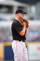 Nashville Sounds third baseman Matt Chapman (7) during a game against the New Orleans Baby Cakes on May 1, 2017 at First Tennessee Park in Nashville, Tennessee.  Nashville defeated New Orleans 6-4.  (Mike Janes/Four Seam Images)
