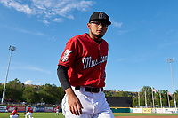 Billings Mustangs pitcher Jeffry Nino (45) walks toward the dugout before a Pioneer League game against the Grand Junction Rockies at Dehler Park on August 15, 2019 in Billings, Montana. Billings defeated Grand Junction 11-2. (Zachary Lucy/Four Seam Images)