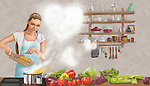 Illustrative image of woman cooking food representing care for family