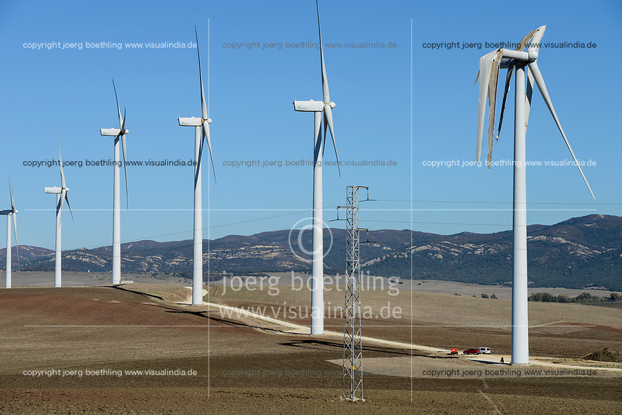 Spain, Andalusia, wind farm on cattle farm between Cadiz and Tarifa, damaged rotor blade at wind turbine