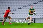 Stephen O'Brien, Kerry in action against Sean Powter, Cork, during the Munster GAA Football Senior Championship Semi-Final match between Cork and Kerry at Páirc Uí Chaoimh in Cork.