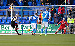 St Johnstone v Partick Thistle…28.04.18…  McDiarmid Park    SPFL<br />Conor Sammon scores from the spot to level the game<br />Picture by Graeme Hart. <br />Copyright Perthshire Picture Agency<br />Tel: 01738 623350  Mobile: 07990 594431