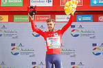 Race leader Odd Christian Eiking (NOR) Intermarché-Wanty-Gobert Matériaux retains the Red Jersey at the end of Stage 11 of La Vuelta d'Espana 2021, running 133.6km from Antequera to Valdepeñas de Jaén, Spain. 25th August 2021.     <br /> Picture: Luis Angel Gomez/Photogomezsport | Cyclefile<br /> <br /> All photos usage must carry mandatory copyright credit (© Cyclefile | Luis Angel Gomez/Photogomezsport)