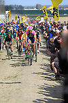 Riders, including Filippo Pozzato (ITA) Lampre Merida, tackle Sector 10 Mons-en-Pevele during the 113th edition of the Paris-Roubaix 2015 cycle race held over the cobbled roads of Northern France. 12th April 2015.<br /> Photo: Eoin Clarke www.newsfile.ie