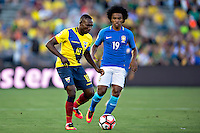action photo during the match Brasil vs Ecuador, at Rose Bowl Stadium Copa America Centenario 2016. ---Foto  de accion durante el partido Brasil vs Ecuador, En el Estadio Rose Bowl, Partido Correspondiante al Grupo -B-  de la Copa America Centenario USA 2016, en la foto: (I)-(D) Walter Orlando Ayovi, William<br /> --- 04/06/2016/MEXSPORT/ Osvaldo Aguilar