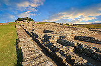 Ruins of  Houseteads Roman Fort, Veronicum, Hadrians Wall , A UNESCO World Heritage Site, Northumberland, England, UK