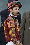 HOT SPRINGS, AR - FEBRUARY 19: Jockey Channing Hill looks at the tote board after the running of the Razorback Handicap at Oaklawn Park on February 19, 2018 in Hot Springs, Arkansas. (Photo by Justin Manning/Eclipse Sportswire/Getty Images)