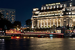 The Fullerton Hotel at night, Boat Quay, Singapore