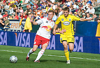 Chris Leitch and Robbie Rogers battle for the ball during MLS Cup 2008. Columbus Crew defeated the New York Red Bulls, 3-1, Sunday, November 23, 2008. Photo by John Todd/isiphotos.com