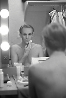 Montreal (Qc) CANADA - January 11, 1989 File Photo-<br /> Yves Jacques putting on makeup and womens clothes for his role in LES FELUETTES<br /> -Photo (c)  Images Distribution