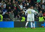 Real Madrid CF's Mariano Diaz and Real Madrid CF's Carlos H. Casemiro celebrates after scoring a goal during La Liga match. Mar 01, 2020. (ALTERPHOTOS/Manu R.B.)
