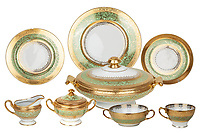 BNPS.co.uk (01202 558833)<br /> Pic: SheldonCarpenter/Witherell'sInc/BNPS<br /> <br /> Pictured: Al and Mae Capone's Hutschenreuther Royal Bavarian china service.<br /> <br /> An incredible treasure trove of Al Capone heirlooms have sold at auction for a whopping £2.3m. ($3.1m)<br /> <br /> The star lot was the notorious American gangster's favourite gun - a 1911 Colt semi-automatic pistol, which was expected to fetch £110,000 but sold for an incredible £764,000. ($1.04m)<br /> <br /> The remarkable collection, sold by his granddaughters, included personalised jewellery, photographs and furniture and a letter written to his only child Sonny from Alcatraz Prison, which showed a tender side to the ruthless crime boss.
