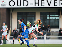 Silke Sneyers (2) of KRC Genk and Tess Lameir (18) of OHL fight for the ball during a female soccer game between Oud Heverlee Leuven and Racing Genk on the 14 th matchday of the 2020 - 2021 season of Belgian Womens Super League , sunday 28 th of February 2021  in Heverlee , Belgium . PHOTO SPORTPIX.BE | SPP | SEVIL OKTEM