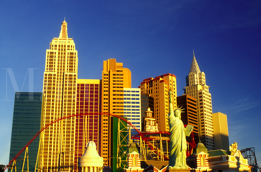 Las Vegas, casino, NV, Nevada, New York-New York, The Strip, Replica of the Statue of Liberty and other landmarks at New York-New York Hotel & Casino on The Strip in Las Vegas, the Entertainment Capital of the World.