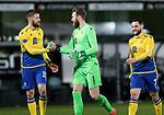 Dunfermline v St Johnstone…15.12.20   East End Park      BetFred Cup<br />Zander Clark celebrates at full time with Shaun Rooney and Craig Conway<br />Picture by Graeme Hart.<br />Copyright Perthshire Picture Agency<br />Tel: 01738 623350  Mobile: 07990 594431
