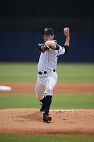 Tampa Tarpons starting pitcher Nick Green (12) delivers a pitch during a game against the Clearwater Threshers on April 22, 2018 at George M. Steinbrenner Field in Tampa, Florida.  Tampa defeated Clearwater 2-1.  (Mike Janes/Four Seam Images)