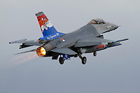A Dutch F-16 fighter jet takes off with afterburner. Specially painted aircraft are particularly sought after amongst plane spotters. Nato Tiger Meet is an annual gathering of squadrons using the tiger as their mascot. While originally mostly a social event it is now a full military exercise. Tiger Meet 2012 was held at the Norwegian air base Ørlandet.