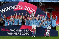 1st November 2020; Wembley Stadium, London, England; Womens FA Cup Final Football, Everton Womens versus Manchester City Womens; Steph Houghton of Manchester City Women lifts the Womens FA Cup Final Trophy