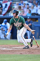 Greensboro Grasshoppers left fielder Austen Smith (18) swings at a pitch during the South Atlantic League All Star Game on June 23, 2015 in Asheville, North Carolina. The North Division defeated the South 7-5(Tony Farlow/Four Seam Images)