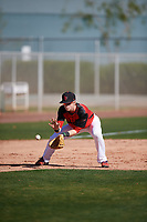 Ty Garrett (14) of Montgomery Central High School in Clarksville, Tennessee during the Baseball Factory All-America Pre-Season Tournament, powered by Under Armour, on January 13, 2018 at Sloan Park Complex in Mesa, Arizona.  (Mike Janes/Four Seam Images)