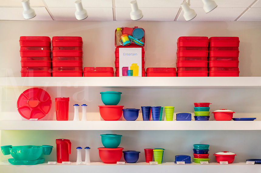 Tupperware storage products on display at the corporate headquarters store, Kissammee, Florida, USA.