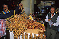 Fez, Morocco - Fig and Date Vendor in Fez Market.