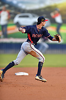 Rome Braves shortstop Braden Shewmake (39) throws the ball to first base during a game against the Asheville Tourists  at McCormick Field on July 19, 2019 in Asheville, North Carolina. The Braves defeated the Tourists 4-1. (Tony Farlow/Four Seam Images)