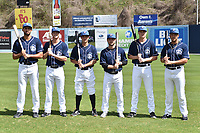 Asheville Tourists infielders Jacob Bosiokovic (21), Taylor Snyder (28), Jose Gomez (4), Max George (3), Tyler Nevin (23) and Colton Welker (24) during media day at McCormick Field on April 4, 2017 in Asheville, North Carolina. (Tony Farlow/Four Seam Images)
