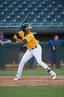 AZL Athletics Gold Christopher Quintin (2) at bat during an Arizona League game against the AZL Rangers on July 15, 2019 at Hohokam Stadium in Mesa, Arizona. The AZL Athletics Gold defeated the AZL Athletics Gold 9-8 in 11 innings. (Zachary Lucy/Four Seam Images)
