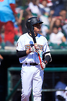 Inland Empire 66ers designated hitter Franklin Torres (46) during a California League game against the Modesto Nuts on April 10, 2019 at San Manuel Stadium in San Bernardino, California. Inland Empire defeated Modesto 5-4 in 13 innings. (Zachary Lucy/Four Seam Images)