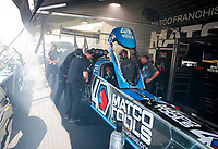 Aug 18, 2019; Brainerd, MN, USA; Crew members for NHRA top fuel driver Antron Brown during the Lucas Oil Nationals at Brainerd International Raceway. Mandatory Credit: Mark J. Rebilas-USA TODAY Sports