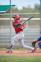 GCL Cardinals first baseman Zack Gahagan (38) hits a double during a game against the GCL Mets on August 6, 2018 at Roger Dean Chevrolet Stadium in Jupiter, Florida.  GCL Cardinals defeated GCL Mets 6-3.  (Mike Janes/Four Seam Images)