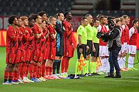 line-up team Belgium ( Lois Openda (7) , Logan Ndenbe (22) , Yorbe Vertessen (9) , Eliot Matazo (15) , Arthur Theate (5) , Yari Verschaeren (10) , Koni De Winter (14) , Marco Kana (16) , Hugo Siquet (2) , goalkeeper Maarten Vandevoordt (1) , Amadou Onana (6) ) pictured before a soccer game between the national teams Under21 Youth teams of Belgium and Denmark on the fourth matday in group I for the qualification for the Under 21 EURO 2023 , on tuesday 12 th of october 2021  in Leuven , Belgium . PHOTO SPORTPIX   STIJN AUDOOREN