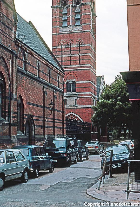 London: St. James the Less, Moreton St. and Parish Hall, now Red Cross Society Headquarters adjoining Lillington Gardens.  G.E. Street, 1860.  Photo '90.
