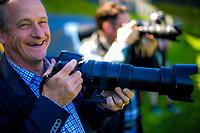 Photographer (and Wellington City Councillor) Simon Woolf shoots the ISPS Handa Premiership football Charity Cup match between Team Wellington and Auckland City FC at David Farrington Park in Wellington, New Zealand on Sunday, 15 October 2017. Photo: Dave Lintott / lintottphoto.co.nz
