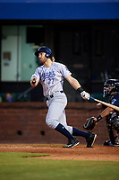 Pensacola Blue Wahoos third baseman Taylor Sparks (27) follows through on a swing during a game against the Mobile BayBears on April 25, 2017 at Hank Aaron Stadium in Mobile, Alabama.  Mobile defeated Pensacola 3-0.  (Mike Janes/Four Seam Images)