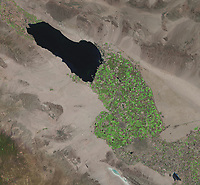 satellite image of Salton Sea, Imperial Valley, Calexico, Mexicali, , US Mexico border