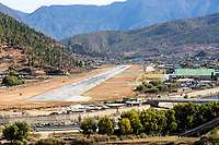 Paro, Bhutan.  Paro Airport Runway and Hills.