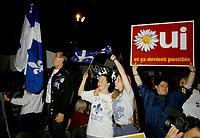 FILE -  <br /> Les partisans du OUI  tiennent un grand rassemblement a l'auditorium de Verdun (date exacte inconnue)<br /> <br /> PHOTO : Agence Quebec Presse