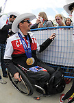 Calgary, AB - June 6 2014 - Para-Alpine's Josh Dueck chats with fans during the Celebration of Excellence Parade of Champions. (Photo: Matthew Murnaghan/Canadian Paralympic Committee)