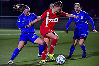 Davinia Vanmechelen (25) of Standard and Fleur Pauwels (66) of KRC Genk pictured during a female soccer game between  Racing Genk Ladies and Standard Femina on the 13 th matchday of the 2020 - 2021 season of Belgian Scooore Womens Super League , friday 5 th of february 2021  in Genk , Belgium . PHOTO SPORTPIX.BE | SPP | STIJN AUDOOREN