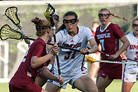 NEWTON, MA - MAY 14: Nikki Torres #31 of University of Massachusetts defends during NCAA Division I Women's Lacrosse Tournament first round game between University of Massachusetts and Temple University at Newton Campus Lacrosse Field on May 14, 2021 in Newton, Massachusetts.