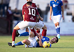 Arbroath v St Johnstone…21.07.21  Gayfield Park<br />Craig Bryson is fouled by Gavin Swankie<br />Picture by Graeme Hart.<br />Copyright Perthshire Picture Agency<br />Tel: 01738 623350  Mobile: 07990 594431