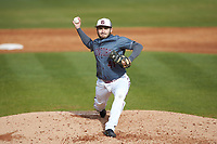 Concord Mountain Lions relief pitcher Caleb Hare (41) delivers a pitch to the plate against the Wingate Bulldogs at Ron Christopher Stadium on February 1, 2020 in Wingate, North Carolina. The Bulldogs defeated the Mountain Lions 8-0 in game one of a doubleheader. (Brian Westerholt/Four Seam Images)